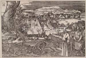 3-D4-T5 Duerer, Die grosse Kanone Duerer, Albrecht, 1471-1528. 'Die grosse Kanone', 1518. (Allegorische Darstellung der 'Tuerki- schen Gefahr' fuer die deutschen Lande, links eine Nuernberger Kanone, rechts ein tuerk. Pascha mit Gefolge. Im Hin- tergrund der Ehrenbuerg (od. Walberla), Huegel in der Fraenkischen Schweiz).- Eisenradierung, 217 x 322 mm. E: The Cannon / Duerer / 1518 Duerer, Albrecht 1471-1528. - 'The Cannon', 1518. - Steelplate engraving, 217 x 322mm.