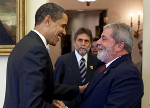 President Obama welcomes the President of Brazil, Lula Da Silva, to the Oval Office of the White House on Saturday, March 14, 2009. (White House photo by Pete Souza)
